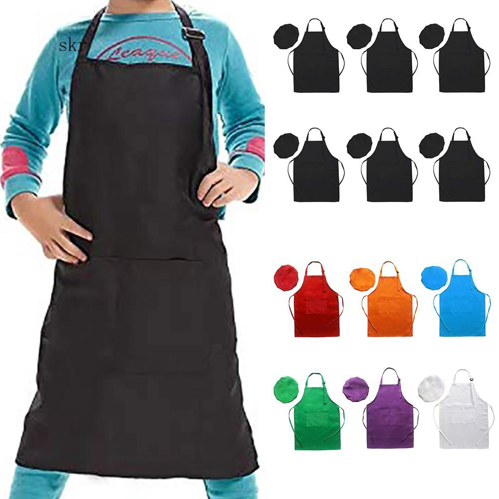 SKR♛6Pcs Kids Chef Hat Apron Set Art Painting Cooking Baking Pretend Play Costume