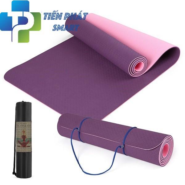 [XẢ HÀNG]Thảm Tập Yoga TPE 6mm 2 Lớp + Tặng Kèm Túi Và Dây Buộc