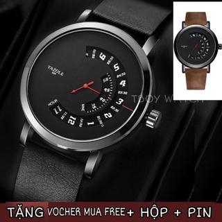 SIÊU ĐỘC LẠ - Đồng hồ nam CHẠY TRỤC SỐ hãng Yazole 509 dây da PU thumbnail