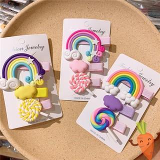 Set 3 kẹp tóc cầu vồng kẹo mút xinh xắn dễ thương Hàn Quốc cho bé yêu CAROBY KTBG07 thumbnail