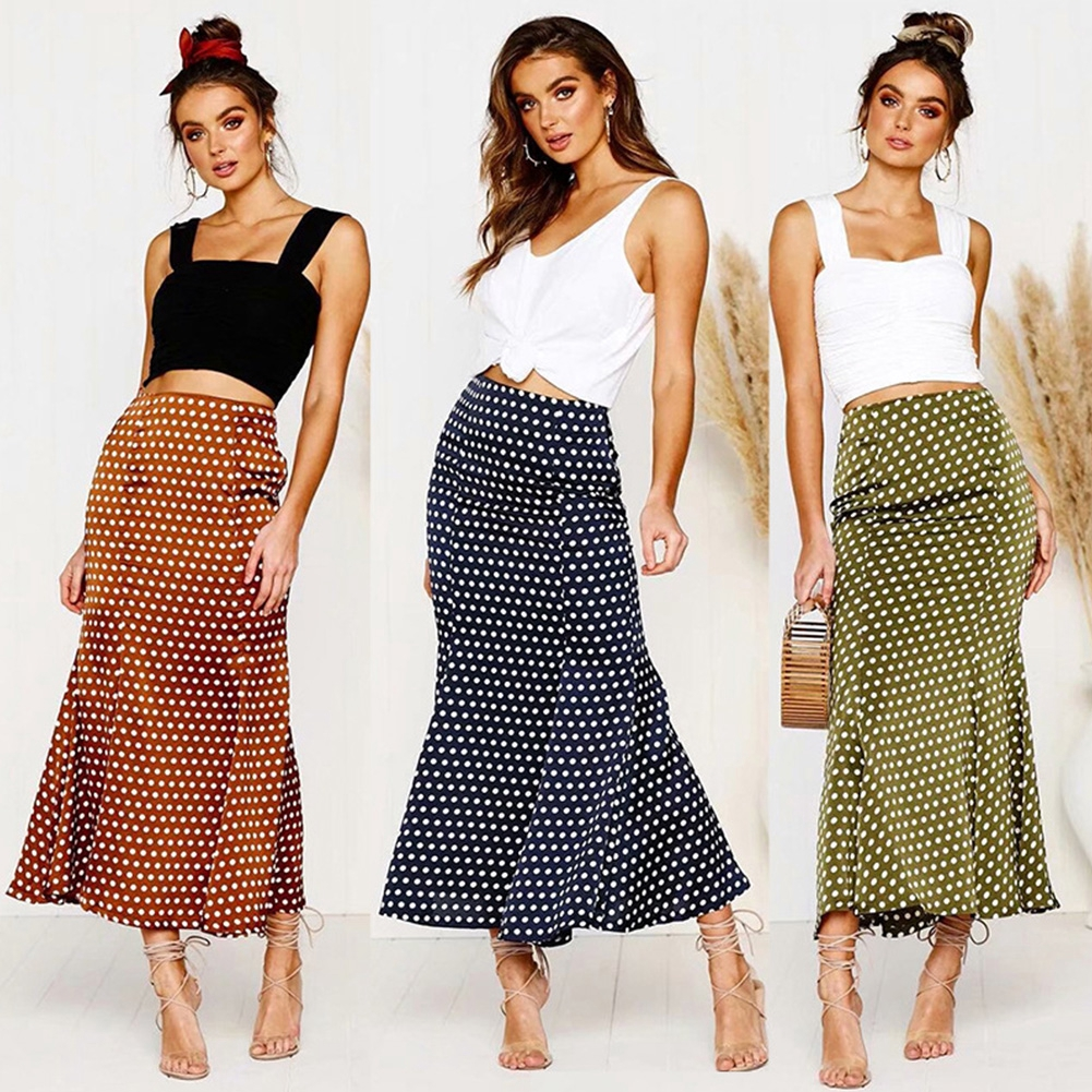 Elastic Waist Midi Beach Bodycon Shopping Polka Dot Party Daily Dating Women Skirt