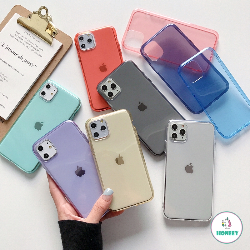 Candy Color Transparent Clear Soft TPU Case for IPhone 11 Pro Max 6s 7 8 Plus XS Max XR Full Cover