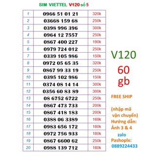[Mã ELFLASH5 giảm 20K đơn 50K] Sim Viettel v120 số đẹp 5 60gb data (2gb x 30 ngày), gọi miễn phí