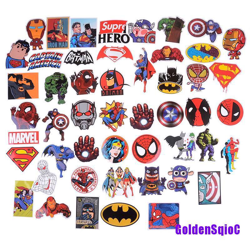 【G&D】50Pcs/set Super Hero Marvel Movies Stickers For DIY Skateboard Motorcycle Laptop