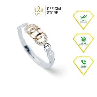 QMJ Nhẫn bạc nữ Kim Ngân Phát Lộc mạ vàng 24k nạm đá tấm tinh sảo- Q271 thumbnail