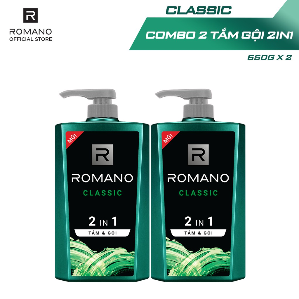 Combo 2 Tắm gội 2 trong 1 Romano 650g/chai