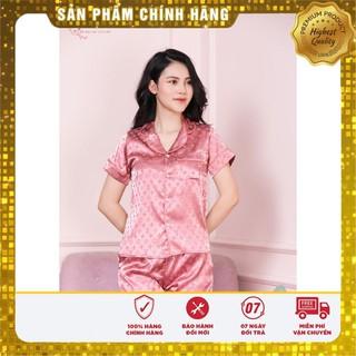 Đồ Mặc Nhà Cao Cấp - Pijama Cộc Tay Quần Đùi Lụa Gấm Họa Tiết LV Đủ Size - Mẫu HOT Nhất Hè 2020