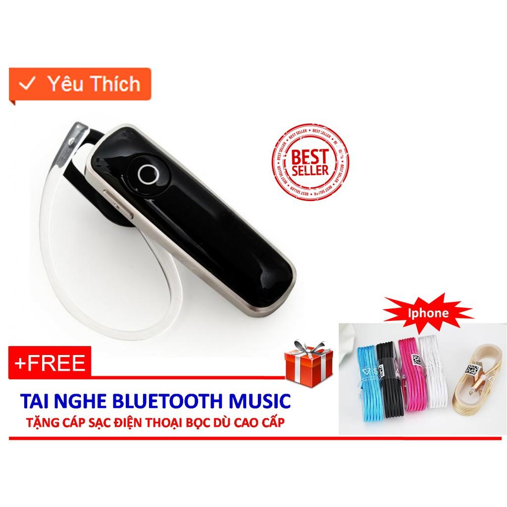 Tai nghe Bluetooth music (Đen) + Tặng cáp sạc Iphone bọc dù cao cấp (Mầu ngãu nhiên)
