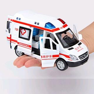Xe mô hình ô tô cứu thương bằng sắt có nhạc và âm thanh đồ chơi trẻ em xe mở các cửa