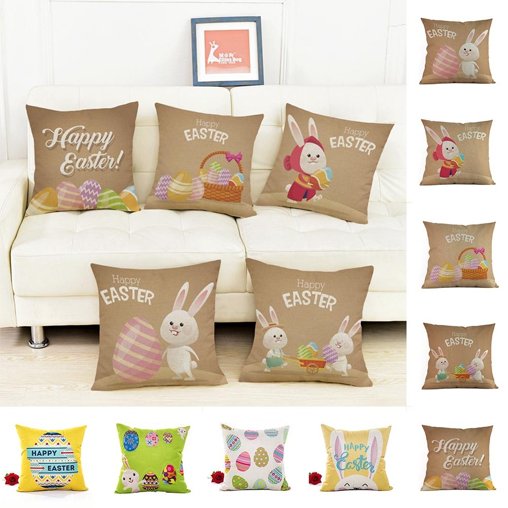 Decorative Flax Bedroom Zipper Print Soft Happy Easter Square Pillow Case