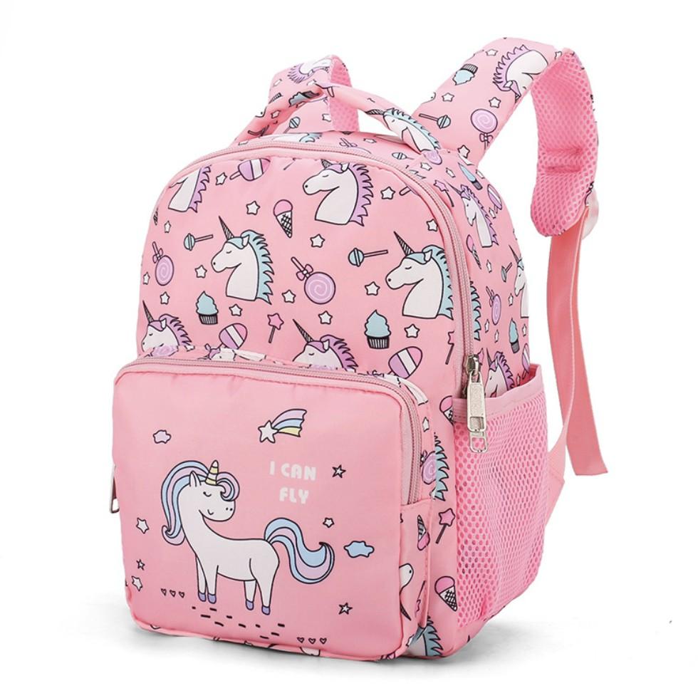 Balo cho bé đi học mẫu giáo siêu nhẹ balo 3D cho bé gái màu hồng in hình kỳ lân Unicorn tím hồng đáng yêu