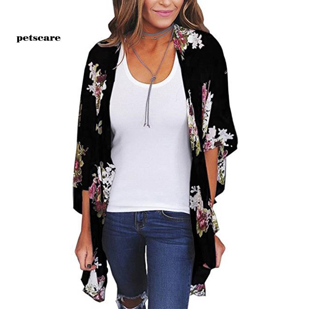 Ptcr_Bohemia Flower Print Summer Beach Women's Kimono Cardigan Loose Chiffon Coat