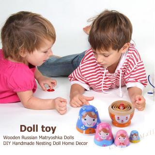 1 Set Russian Nesting Dolls Cute Handmade Wooden Matryoshka Doll Ornament