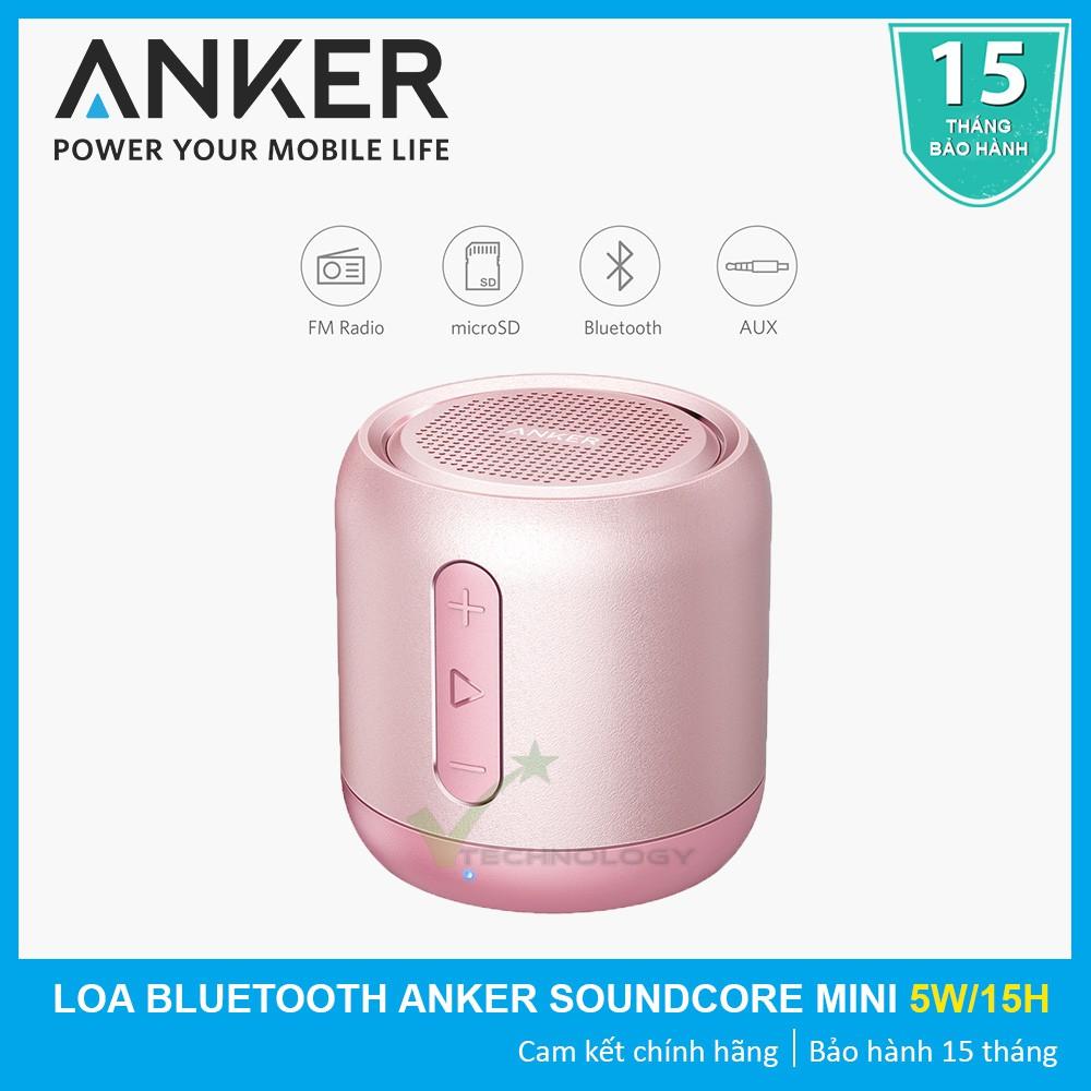 [CHÍNH HÃNG] Loa bluetooth di động ANKER SoundCore Mini Stereo Speaker (Hồng) - Bảo hành 15 tháng
