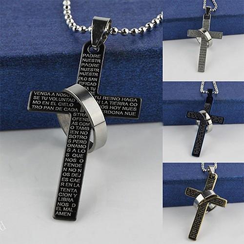 Dây chuyền mặt hình thập giá gắn nhẫn có chữ kinh thánh độc đáo