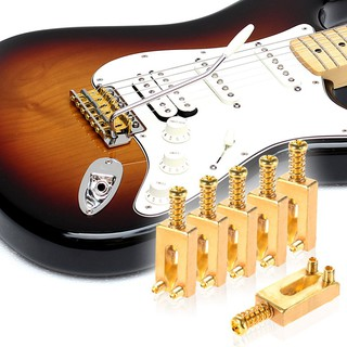 yohi2018 6 Pieces Brass Bridge Saddles with Wrench for Fender ST Electric Guitar