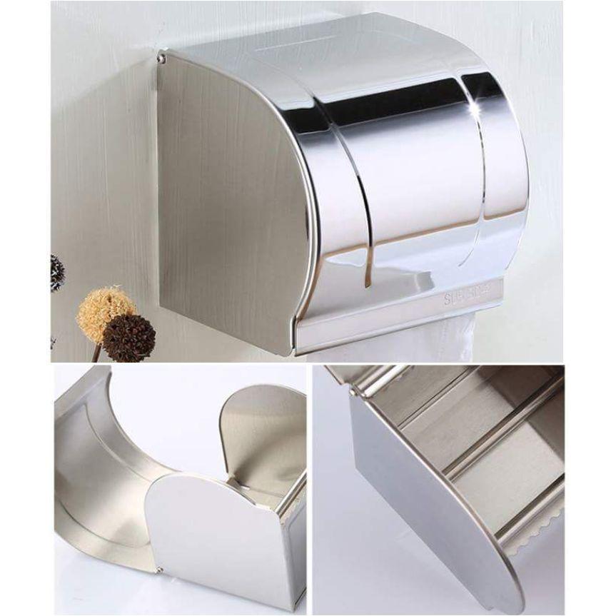 Lô giấy vệ sinh hộp kín Inox 304 dày dặn (đựng được cả giấy có lõi và không lõi)