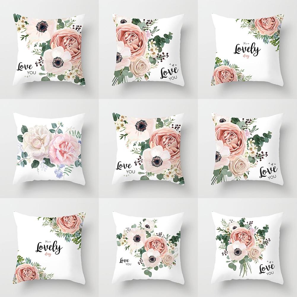 Flower Letter Portable Modern Washable Pillowcase Polyester Soft Decorative Sofa Decoration Zipper Floral Novelty