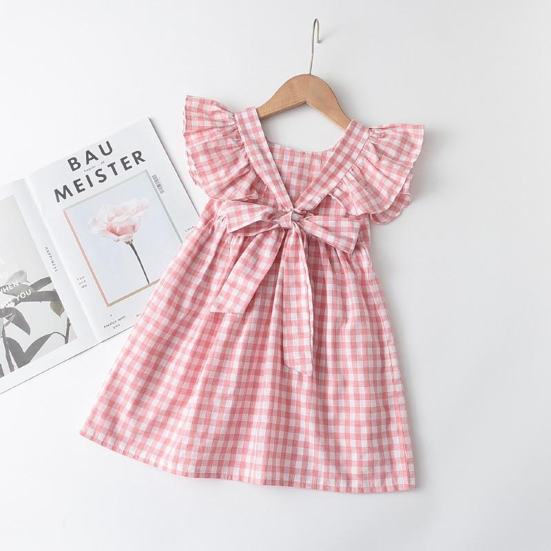 Đầm xòe công chúa họa tiết kẻ sọc caro dễ thương đáng yêu cho bé gái