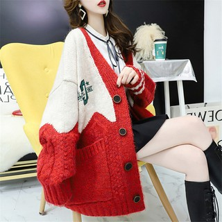 2020 autumn and winter new loose outer wear lazy wind net red knitted jacket women's mid-length swea