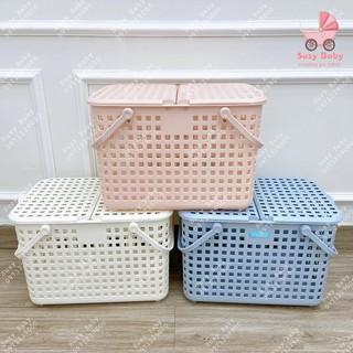 Giỏ đựng đồ đi sinh bằng nhựa có nắp cao cấp INOCHI Nhật Bản (463 x 320 x 311)mm