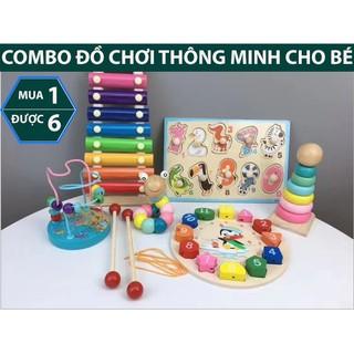 Combo đồ chơi ghép gỗ thông minh montessori phát triển trí não cho bé 6 món