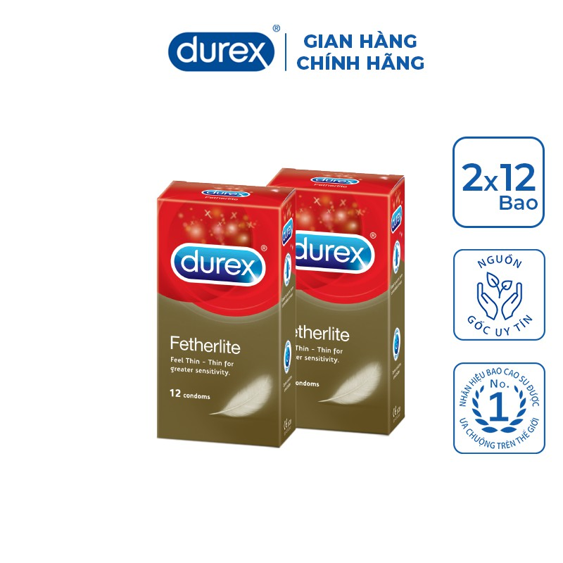 Bộ 2 hộp bao cao su Durex Fetherlite 12 bao (12 cái/hộp, size 52,5mm)
