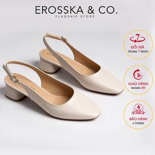 Giày cao gót slingback Erosska mũi vuông gót vuông vững chắc màu kem _ EL013