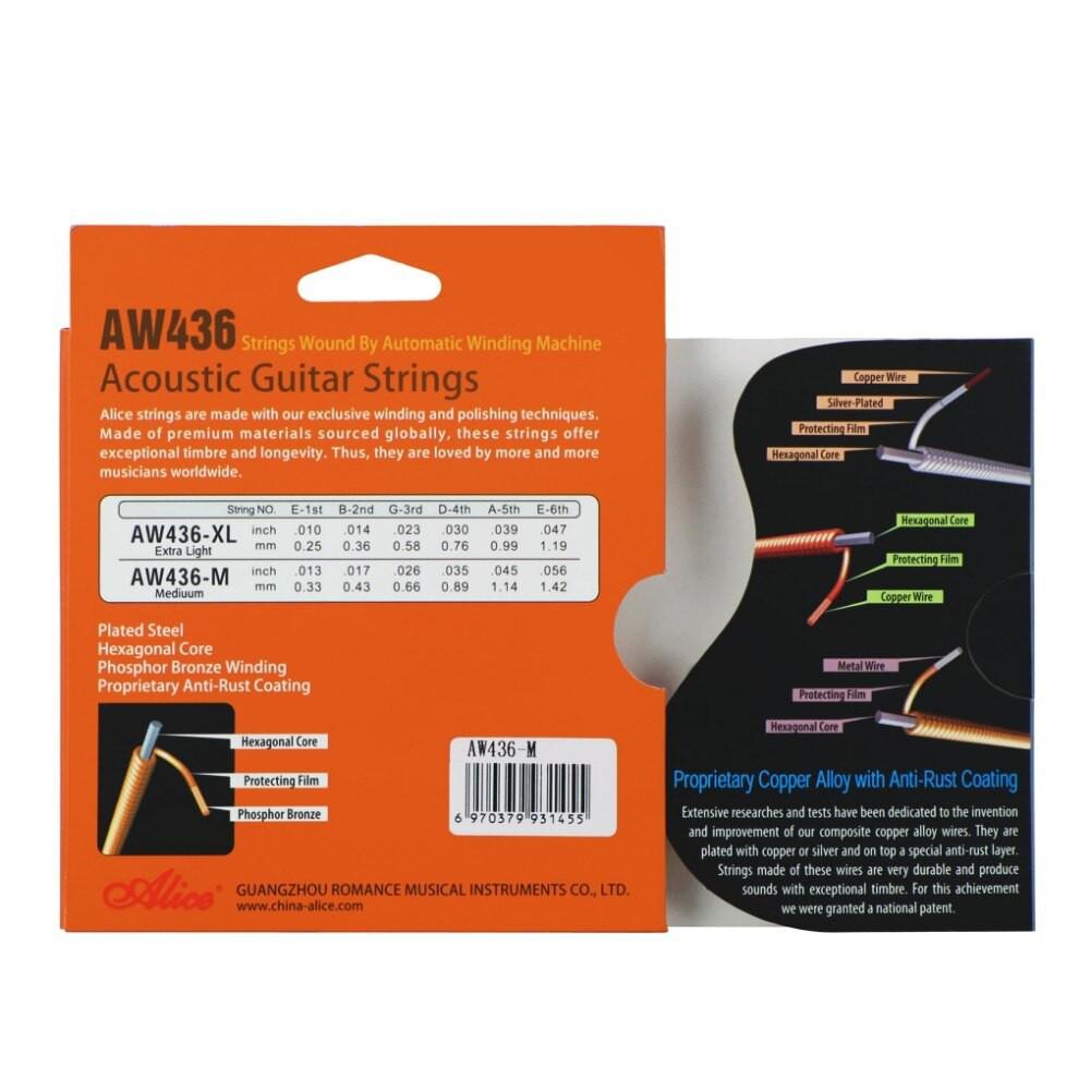 Bộ 6 dây Guitar Acoustic Phosphor Bronze  Alice AW436,  AW436 Acoustic Guitar String Set, Phosphor Bronze