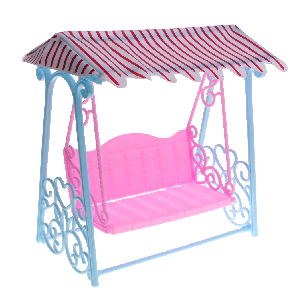 Plastic Miniature Swing with Roof Dollhouse Accessories for 12inch Dolls