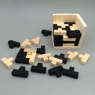 Ghép hình gỗ 3D trí tuệ giáo dục Montessori khối vuông