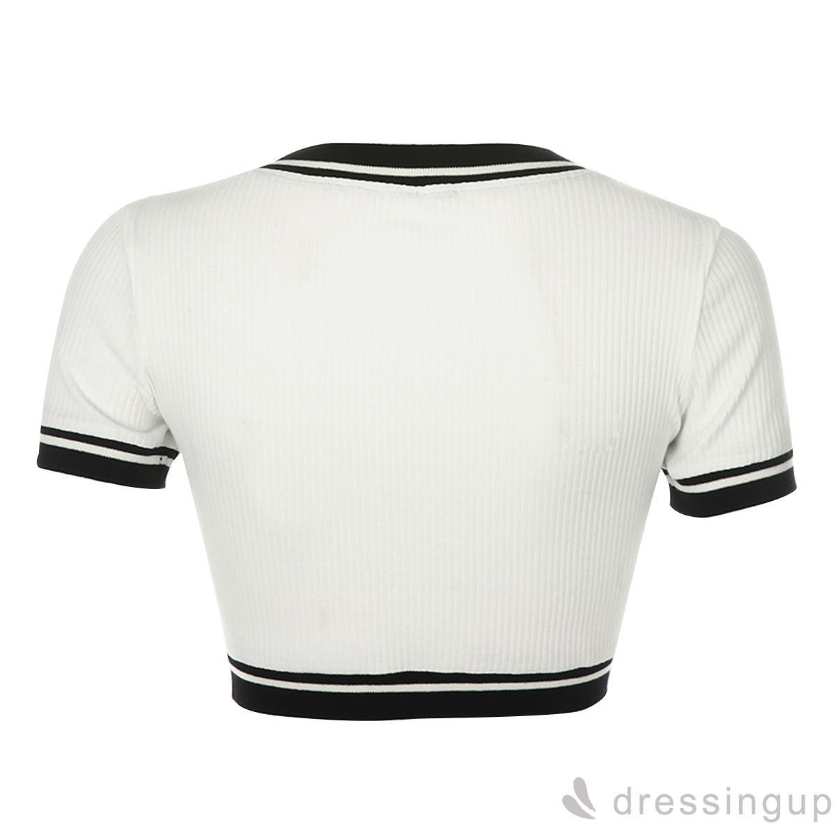 Mặc gì đẹp: Gợi cảm với Áo croptop dệt kim tay ngắn cổ chữ V thích hợp mặc hàng ngày/du lịch/hội tiệc cho nữ