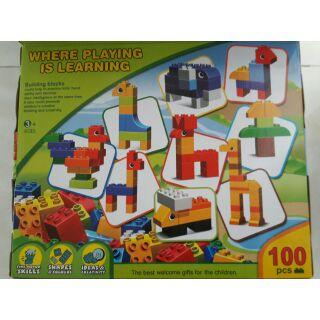 BỘ LEGO 100 CHI TIẾT (LOẠI LỚN) LẮP RÁP SÁNG TẠO (cùng cỡ lego duplo)