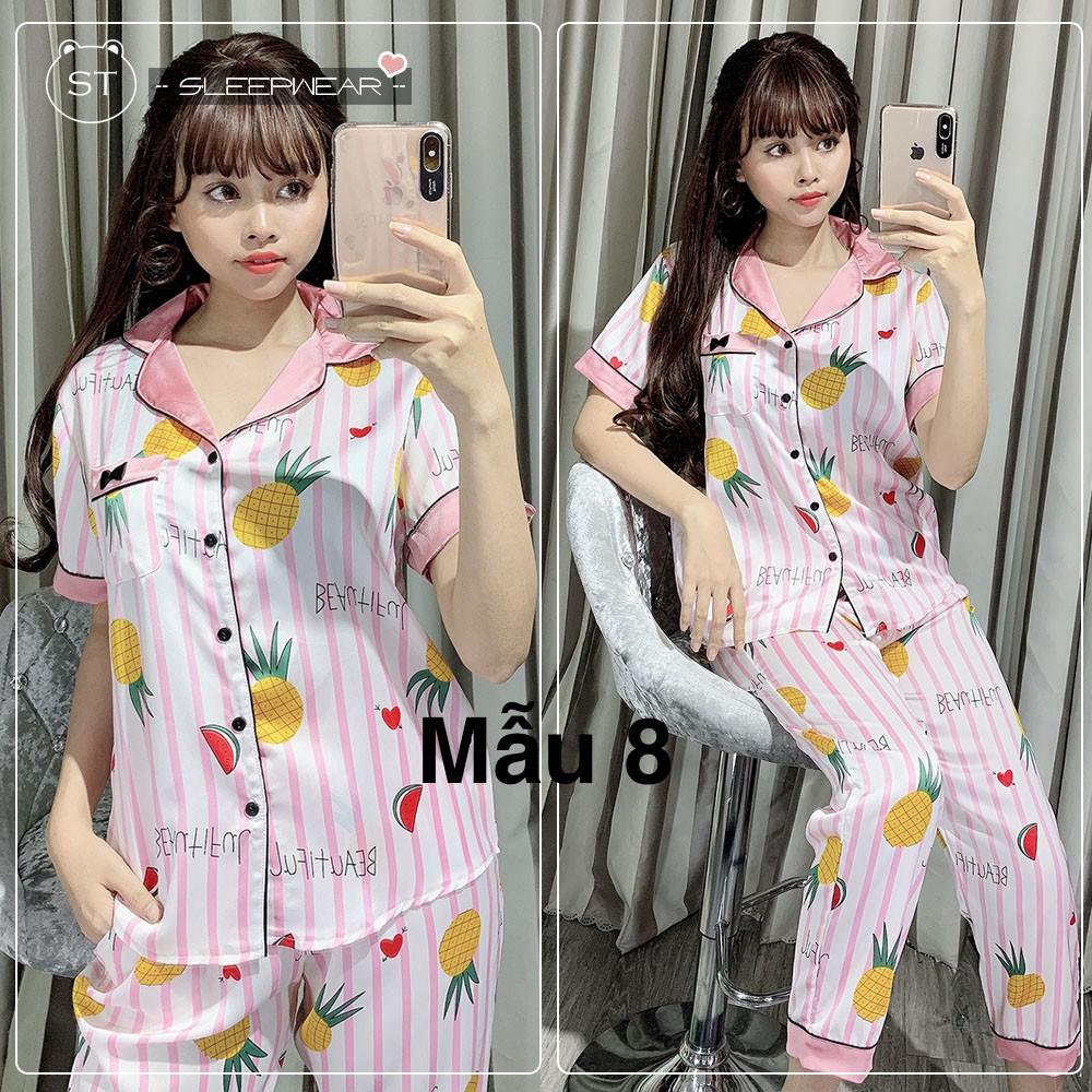 Đồ bộ pijama nữ hoạ tiết  cộc tay quần dài chất vải satin lụa mặc hè cự