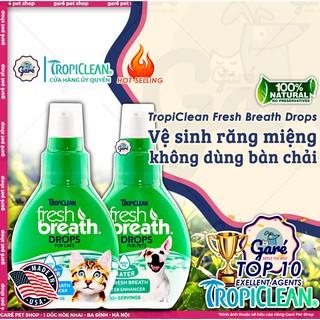59ml Nước vệ sinh răng miệng ngăn ngừa Mảng Bám, Mùi Hôi, Cao Răng Chó Mèo đậm đặc- FRESH BREATH BY TROPICLEAN FOR CATS thumbnail
