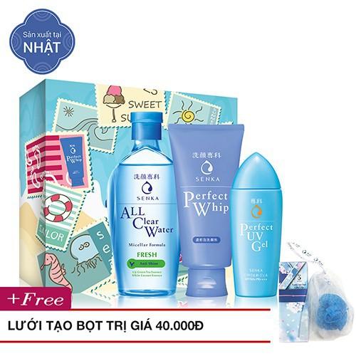 Bộ tẩy trang, Sữa rửa mặt, Gel chống nắng Senka (A.L.L Clear Water 230ml+PW 120g+UV Gel 80g) + Lưới tạo bọt_95586E
