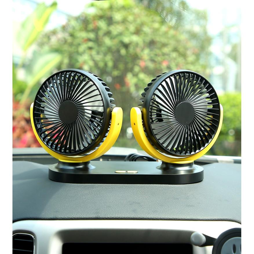 Quạt ô tô - Quạt đôi mini cắm nguồn USB đa năng xoay 360 độ công suất lớn