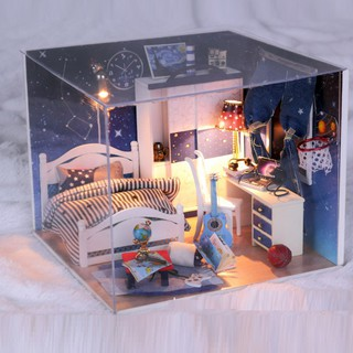 Mô hình nhà DIY Doll House DayTime Kèm Đèn LED và Mica chống bụi