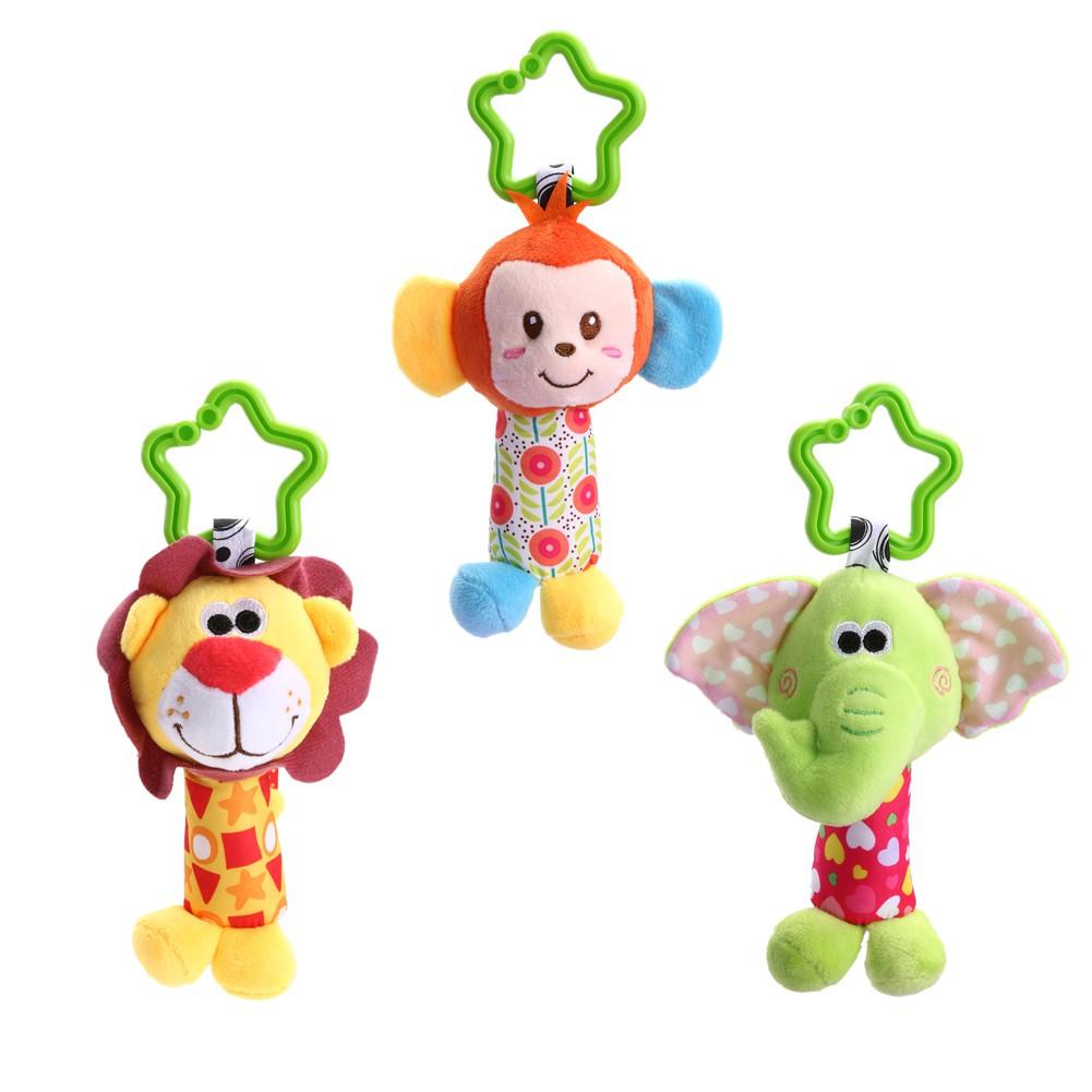★lp★Newborn Baby Infant Cute Animal Handbells Developmental Bed Bells Toys