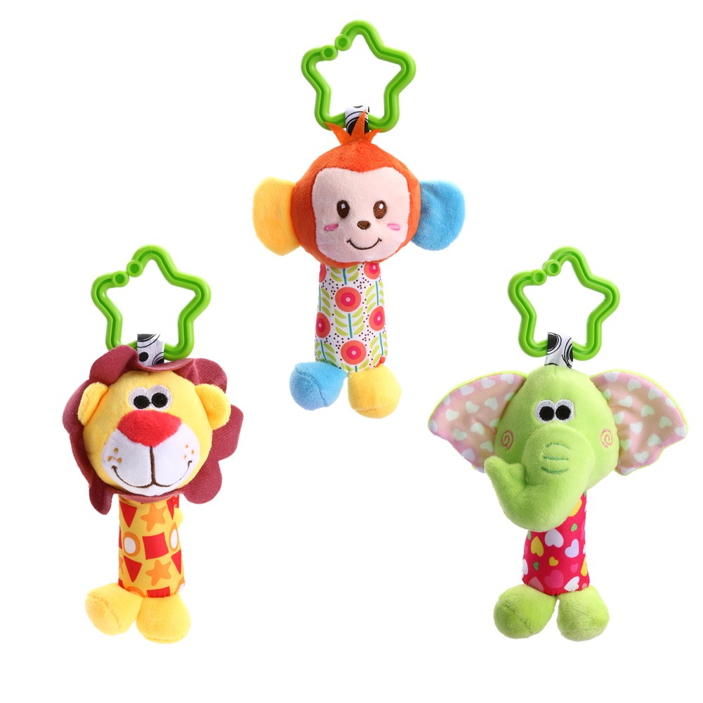 ★lp★Newborn Baby Infant Cute Animal Handbells Developmental Bed Bells Toys