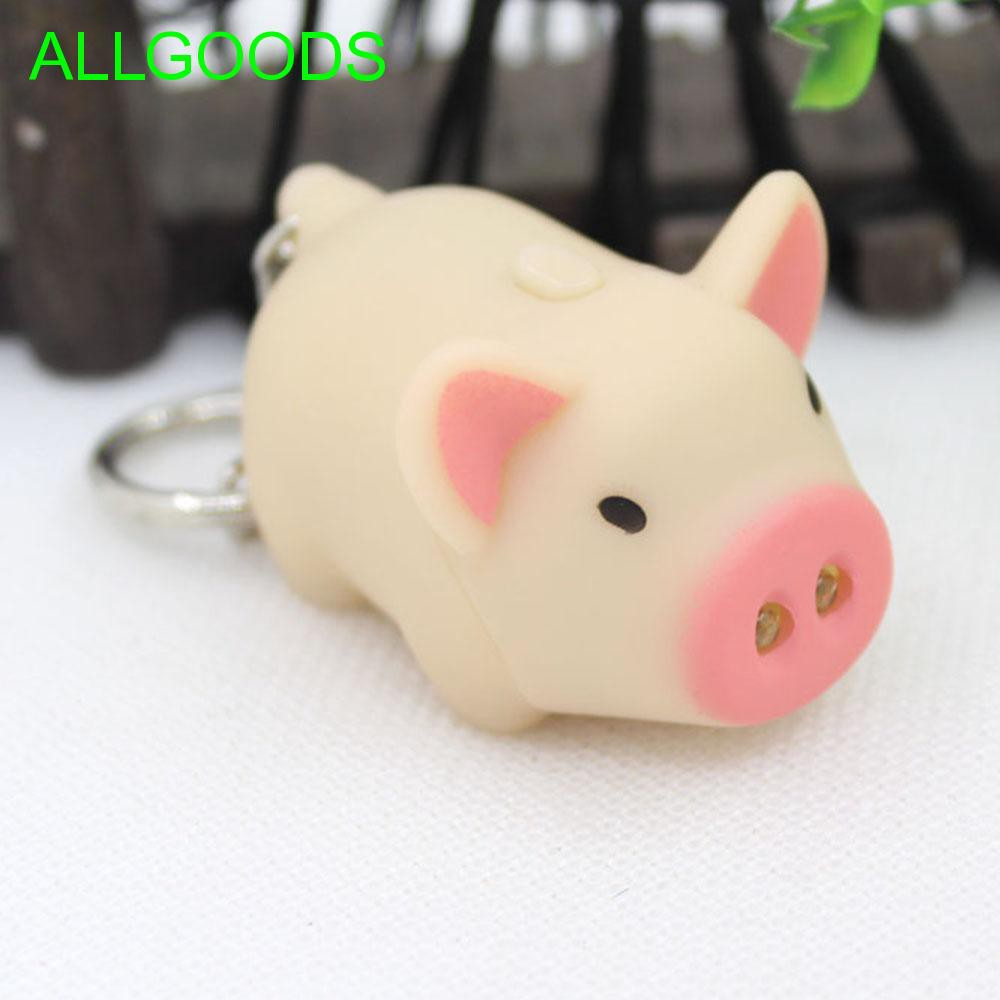Portable Mini Torch Kids Toy with Sound Pig Shape LED Key Chains