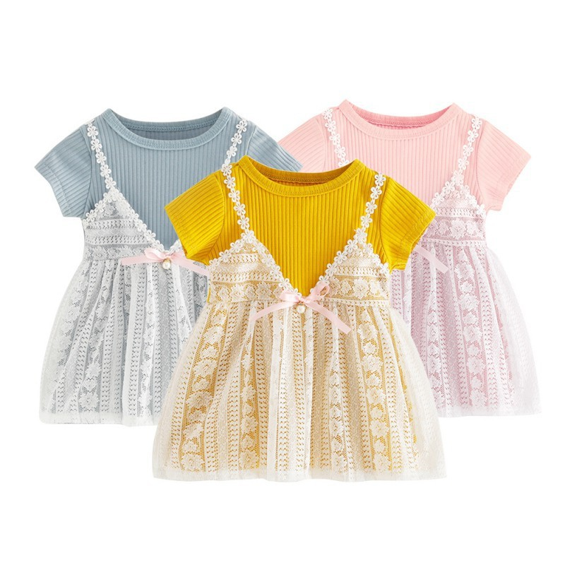Đầm yếm dệt kim phối vải voan dễ thương cho bé