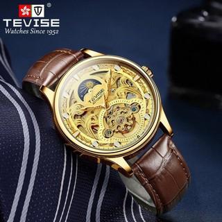 (Siêu Sale) Đồng hồ nam cơ cao cấp chính hãng tevise t820d dây da (tặng kèm hộp)