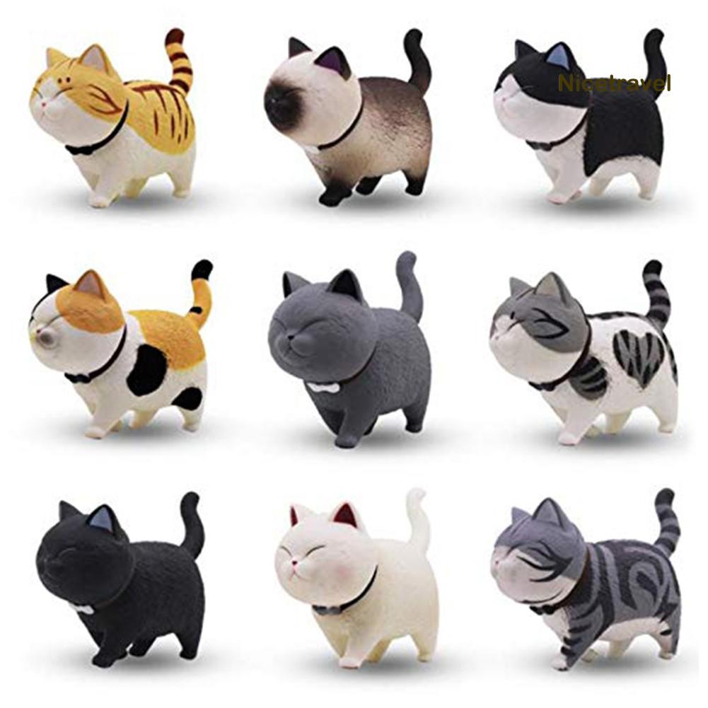 Bộ đồ chơi 9 búp bê hình mèo xoay đầu dễ thương trang trí để bàn/bánh kem dành cho trẻ em
