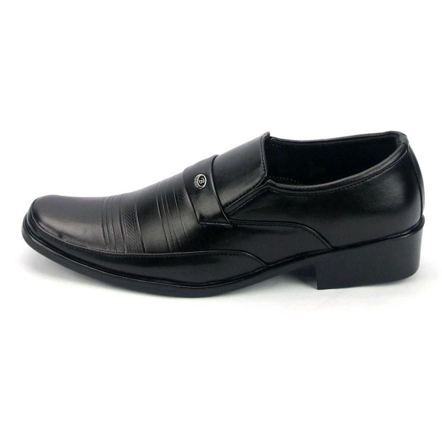 Giày tây da nam MĐ G312 (Đen) Free 1 đôi vớ nam ngẫu nhiên