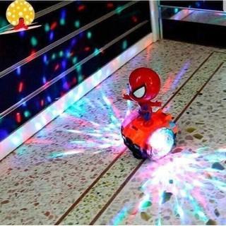 Đồ chơi người nhện trượt ván cho Bé có đèn nhạc, ván trượt xoay 360 độ