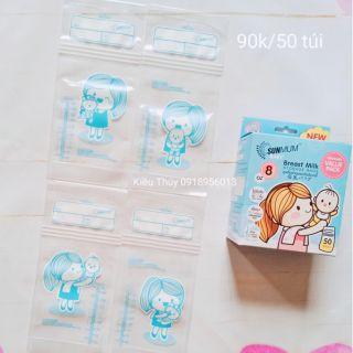 Túi trữ sữa Sunmum màu xanh mới
