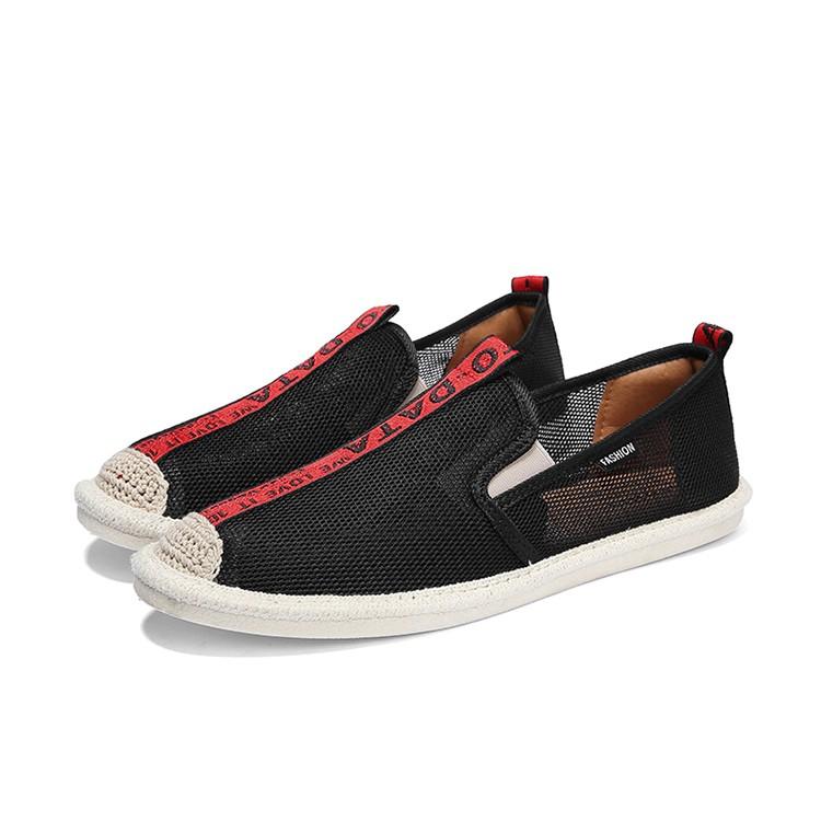 Slip on lưới 2018 - Giày lười lưới nam cao cấp - màu đen sọc đỏ - Mã SP 2912 (có size 44)