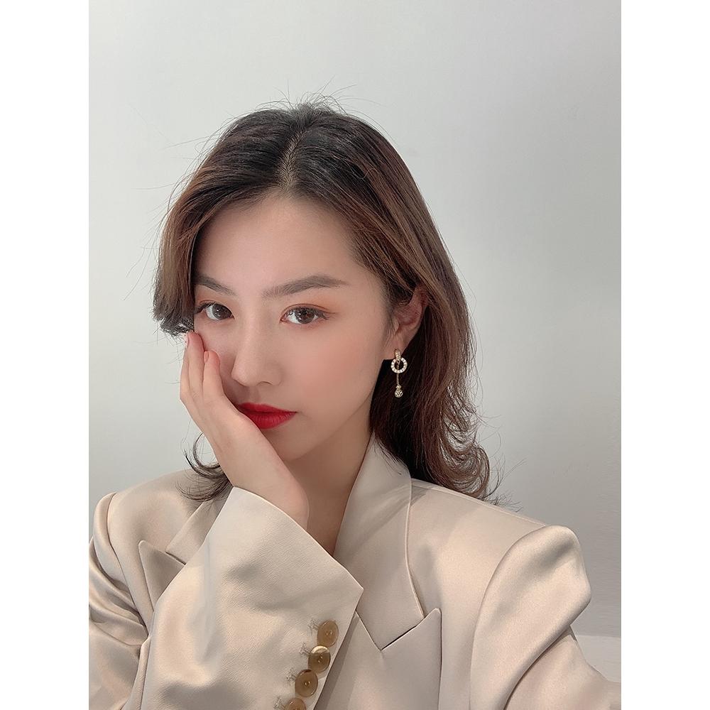 Bông tai kim mạ bạc 925 đính đá phong cách Hàn Nhật thời trang cho nữ
