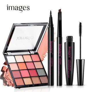 Bộ trang điểm mắt Images 4 món tiện lợi Chì kẻ mày, Bút dạ kẻ mắt, Mascara, Phấn mắt 16 màu ZD-M01